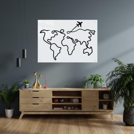 Tablou art line din sticla acrilica - Trip around the world1