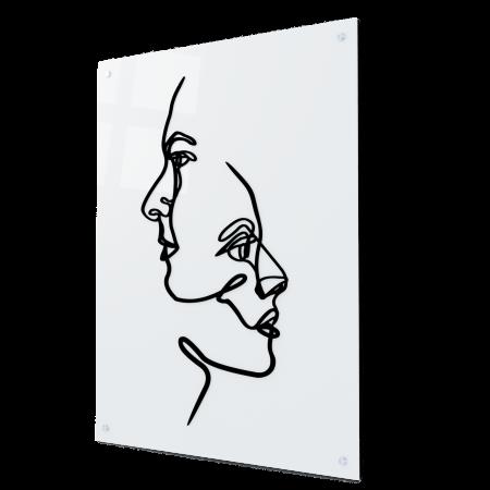Tablou art line din sticla acrilica - Two faces0