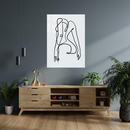 Tablou art line din sticla acrilica - Girl silhouette1