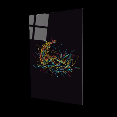 Tablou din sticla acrilica - abstract surfer0