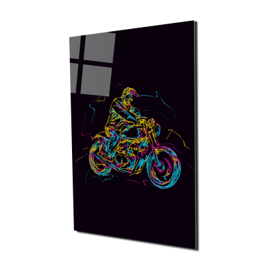 Tablou din sticla acrilica - motorbike rider0