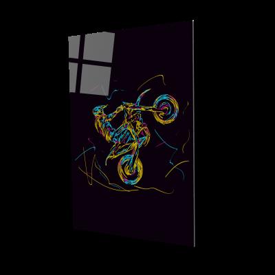 Tablou din sticla acrilica - motorcross racer0