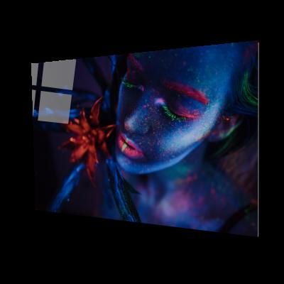 Tablou din sticla acrilica - woman portrait painted with neon paints0