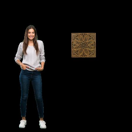 Tablou mandala din lemn - Macii [2]