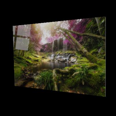 Tablou din sticla acrilica - amazing forest waterfall0