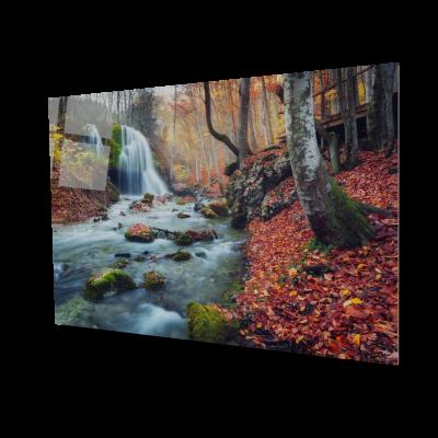 Tablou din sticla acrilica - autumn forest waterfall0