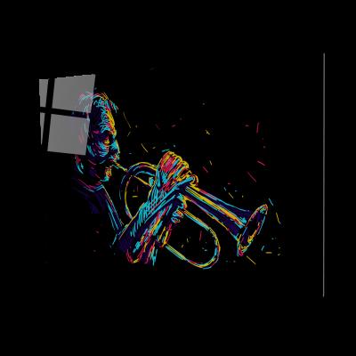 Tablou din sticla acrilica - old trumpet player0