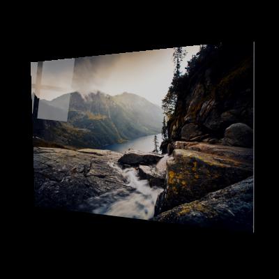 Tablou din sticla acrilica - foggy mountains0