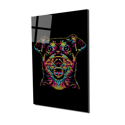 Tablou din sticla acrilica - colorful dog0