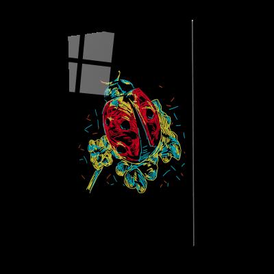 Tablou din sticla acrilica - colorful ladybug0