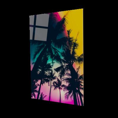 Tablou din sticla acrilica - palm trees silhouette0