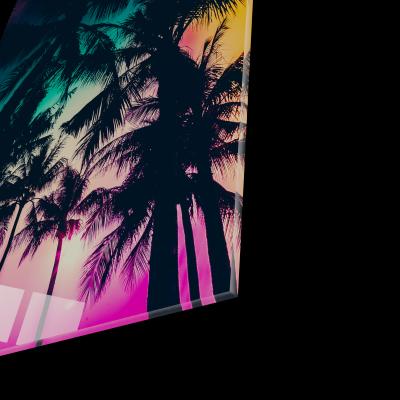 Tablou din sticla acrilica - palm trees silhouette1