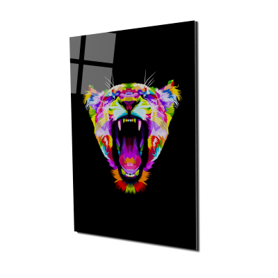 Tablou din sticla acrilica - angry colorful lion0