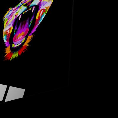 Tablou din sticla acrilica - angry colorful lion1