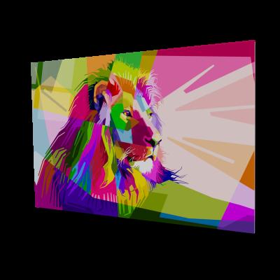 Tablou din sticla acrilica - Leul in culori [0]