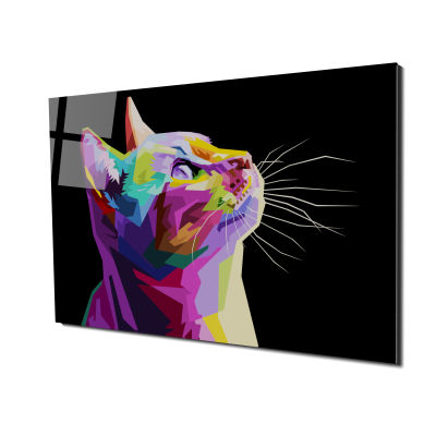 Tablou din sticla acrilica - colorful cat0