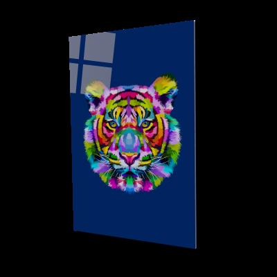 Tablou din sticla acrilica - colorful tiger head0