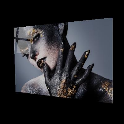 Tablou din sticla acrilica - women artistic makeup0