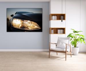 Tablou modern pe panou - beautiful black car headlights4