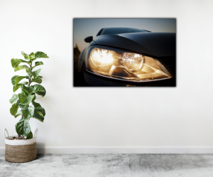 Tablou modern pe panou - beautiful black car headlights2