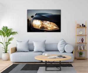 Tablou modern pe panou - beautiful black car headlights1