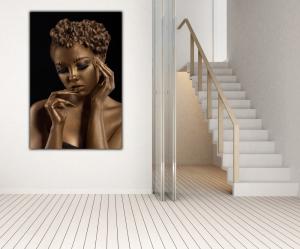 Tablou modern pe panou - woman with golden makeup2