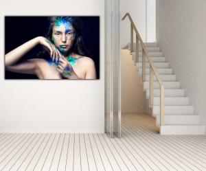 Tablou modern pe panou - girl colorful makeup2