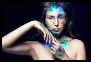 Tablou modern pe panou - girl colorful makeup0