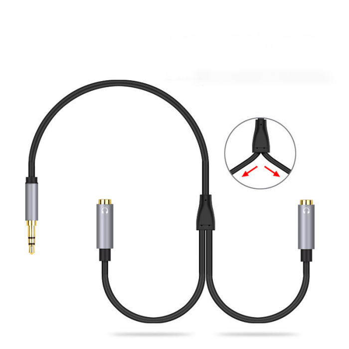 Cablu adaptor audio, jack 3.5mm 4 pini tata - 2 porturi jack 3.5mm mama 2