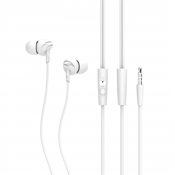 Casti cu fir C200 Last Impact, In-Ear,Microfon incorporat,Bass profund, Jack 3.5 mm, Alb 2