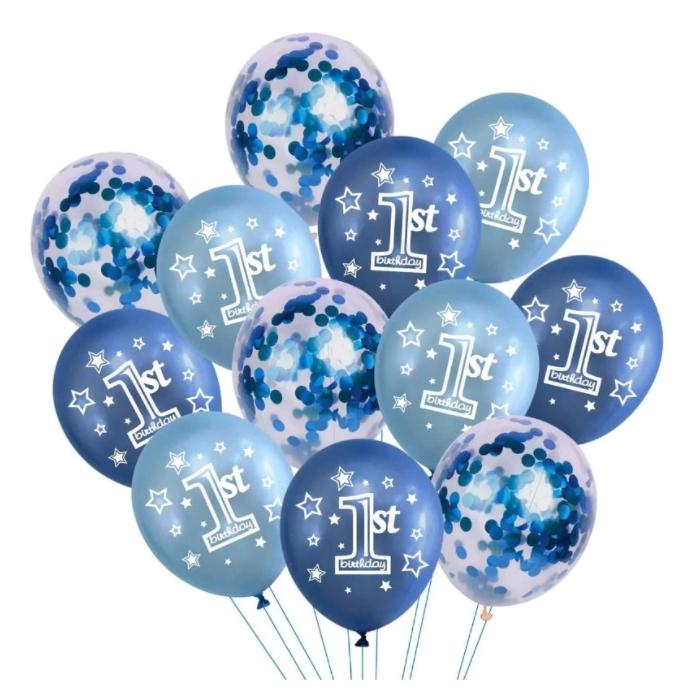 Set 12 Baloane Aniversare, Albastru cu Confeti,1 st, 30 cm [0]