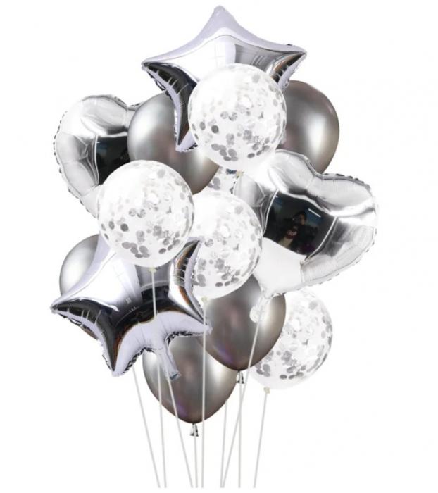 Set Baloane Aniversare, Argintiu, 45 cm [0]