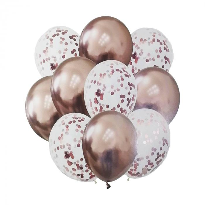 Set 10 baloane cu confeti bronz 30cm [0]