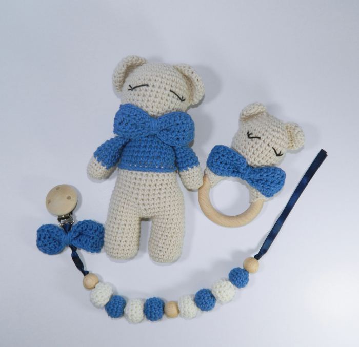 Set cadou jucarii bebelusi, 3 piese crosetate, Albastru 1