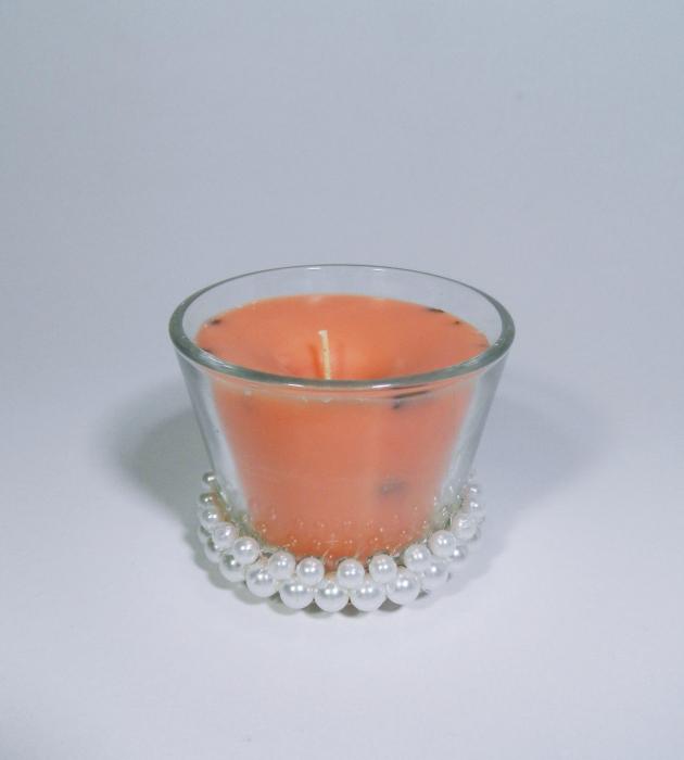 Lumanare decorativa parfumata in borcan, 6cm, portocaliu 1