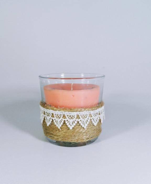 Lumanare decorativa parfumata in borcan, 8cm, piersica 0
