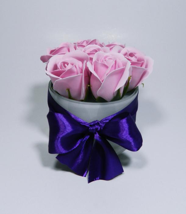 Aranjament Flori Sapun Parfumate in Vas sticla 1