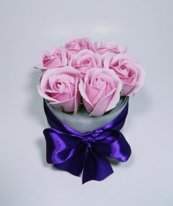 Aranjament Flori Sapun Parfumate in Vas sticla 0