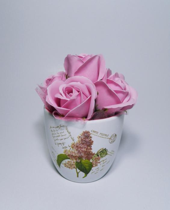 Aranjament Flori Sapun Parfumate in Ghiveci 1