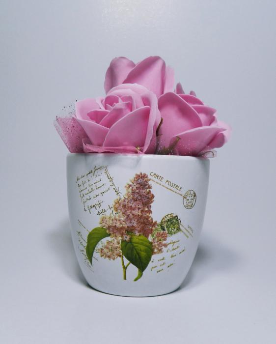 Aranjament Flori Sapun Parfumate in Ghiveci 3