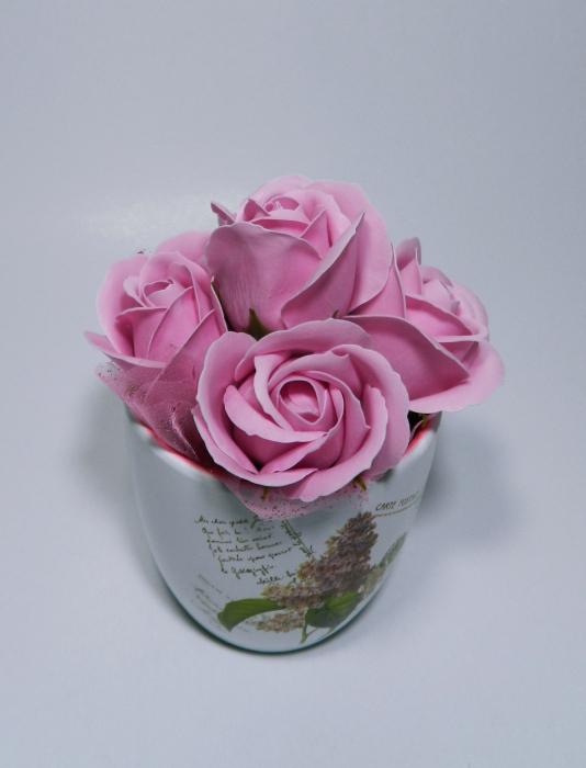 Aranjament Flori Sapun Parfumate in Ghiveci 0
