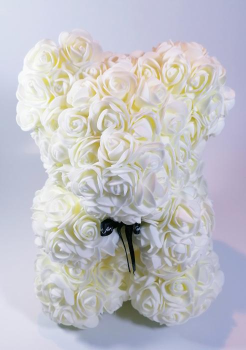 Ursulet floral decorat manual cu trandafiri de spuma Crem 25cm 0