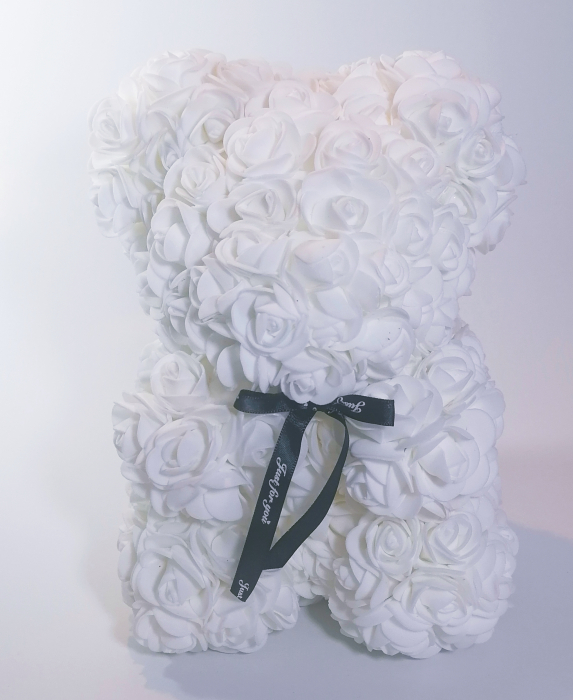 Ursulet floral decorat manual cu trandafiri de spuma Alb 25cm 0