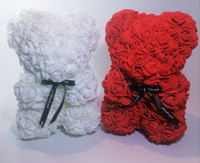 Ursulet floral decorat manual cu trandafiri de spuma Alb 25cm 1