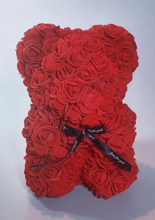 Ursulet floral decorat manual cu trandafiri de spuma Rosu 25cm 0