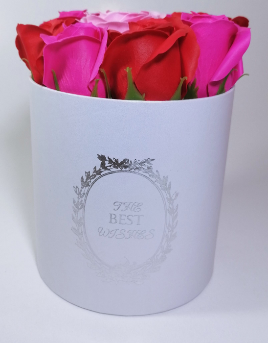 Aranjament cu 9 trandafiri de sapun Roz/Rosu 1