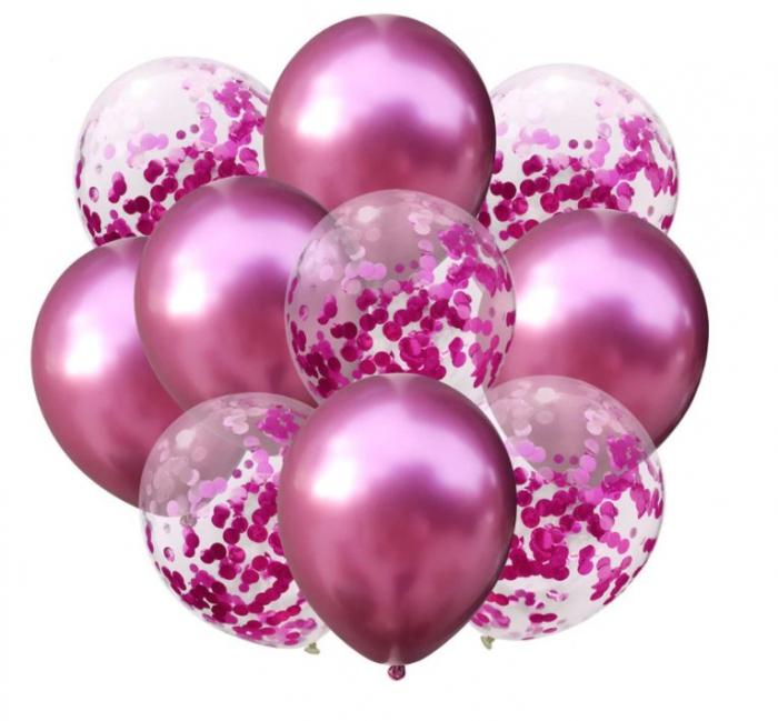 Set 10 baloane transparente cu confeti roz 30cm 0