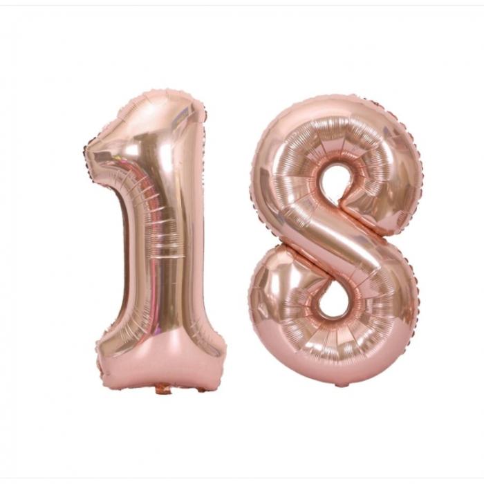 Baloane folie majorat, cifra 18 rose gold, 100 cm [0]