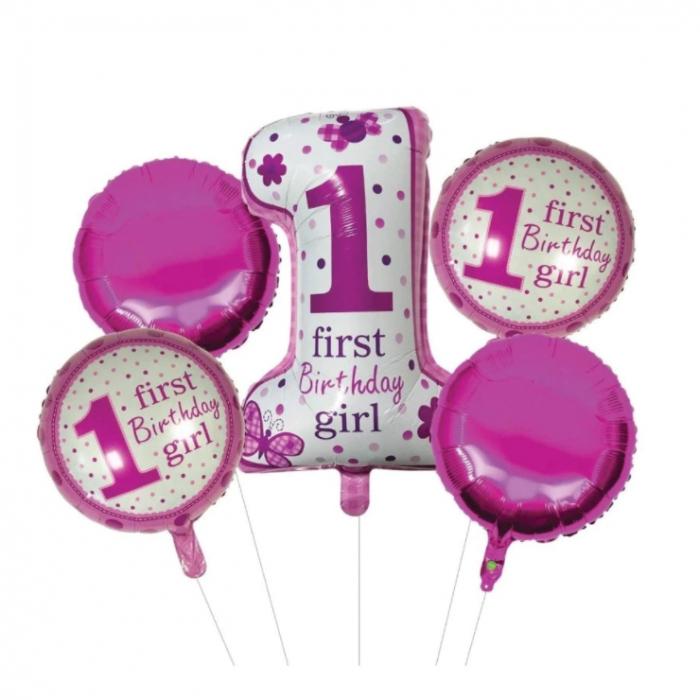 Set 5 baloane roz, alb, 1 first birthday girl [0]