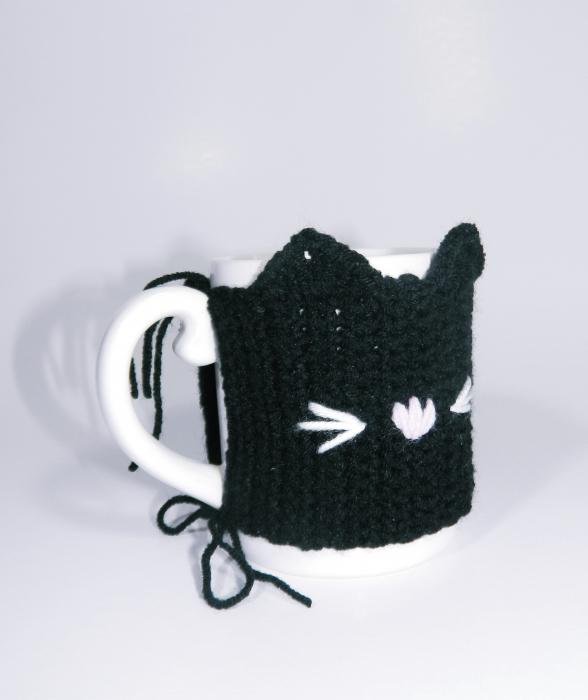 Cana cu hainuta crosetata pisica, negru 2